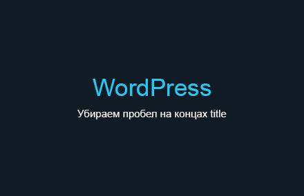 Как убрать пробел на концах title в WordPress?