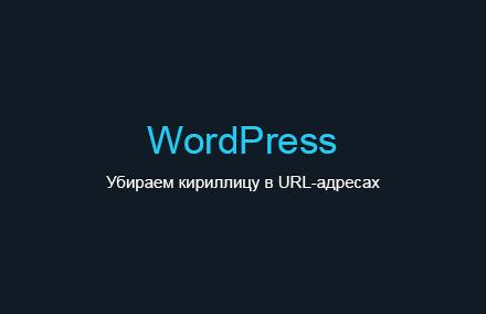 Убираем кириллицу в URL-адресах в WordPress
