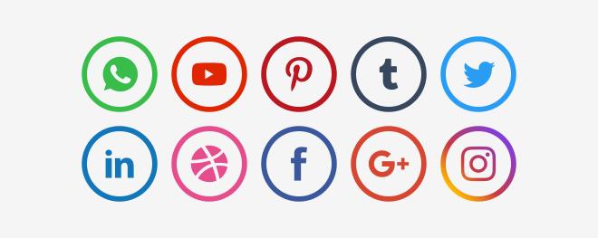 Круглые иконки социальных сетей PNG