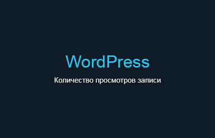 Добавляем количество просмотров записи в WordPress