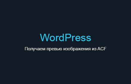 Получаем превью изображения, добавленного через плагин Advanced Custom Fields в WordPress
