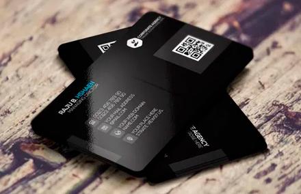 Черная корпоративная визитная карточка PSD