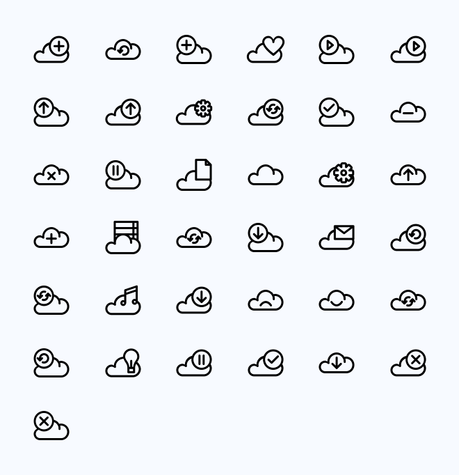 Контурные иконки облаков PNG/SVG